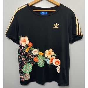 ADIDAS Originals Black Floral Short Sleeve Tee